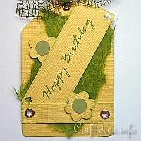 Yellow and Green Happy Birthday Tag