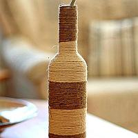 Glass Bottle Wrapped with Jute Yarn