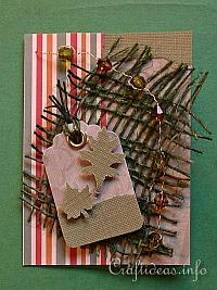 ATC - Artist Trading Cards - Card with Green Leaves and Candy Stripes