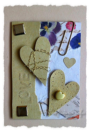 ATC - Artist Trading Cards - Love ATC Using Gold and Natural Colored Papers