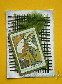 ATC Craft - Vintage Artist Trading Card with Girl
