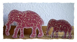 A Taste of India - Wooden Elephants Decorated with Scrapbook Paper