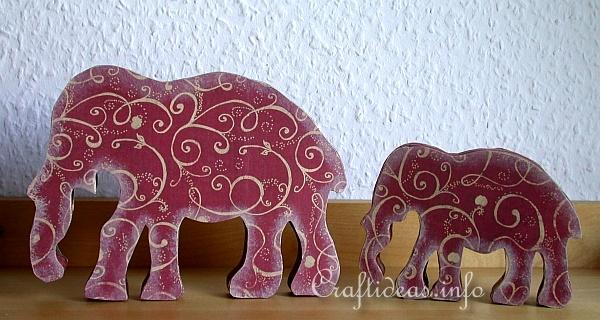 A Taste of India - Wooden Elephants Decorated with Scrapbook Papier