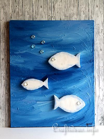 Acrylic Painting - Summer Fish Painting Using Wooden Fish