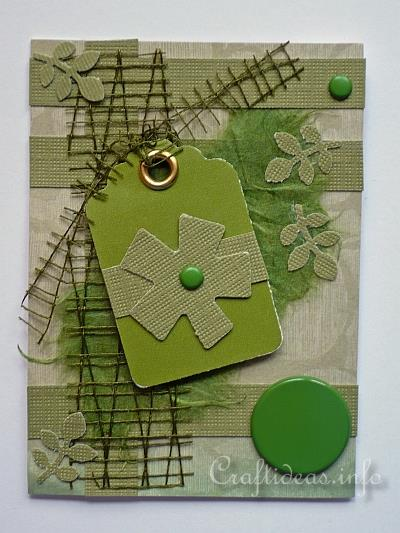Artist Trading Card - Green ATC with Flower Motif
