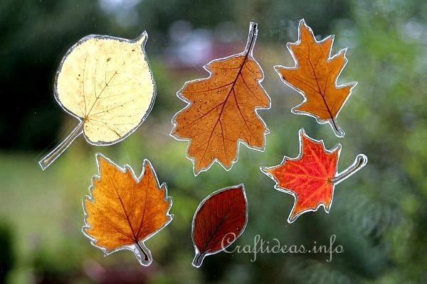 autumn crafts for kids autumn leaves window decoration