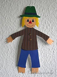 Autumn Paper Craft - Kids Craft - Paper Scarecrow Decoration