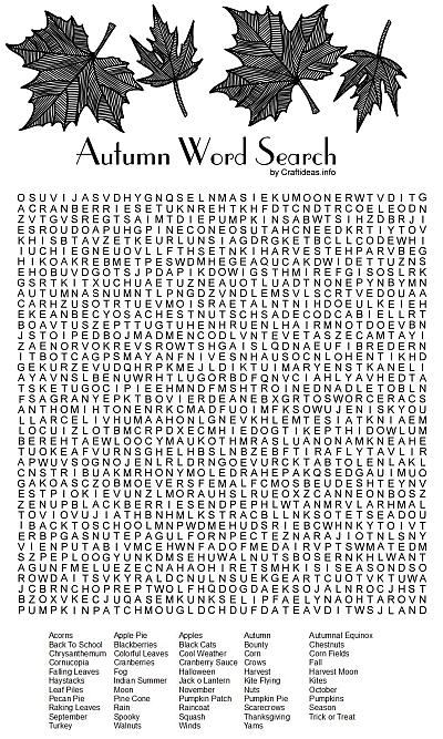 Unusual image pertaining to fall word searches printable