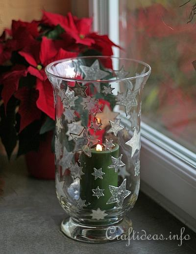 Basic Christmas Craft Ideas - Candle Glass with Window Cling Stars