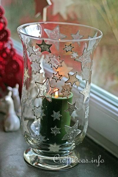 Basic Christmas Craft Ideas - Candle Glass with Window Cling Stars 2