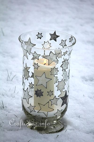 Basic Christmas Craft Ideas - Candle Glass with Window Cling Stars 4