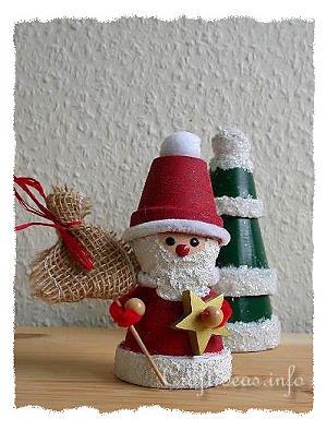 Free Christmas Craft Project Clay Pot Santa