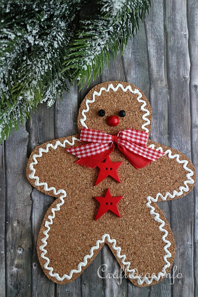 Basic Christmas Craft Ideas - Cork Gingerbread Man Ornament