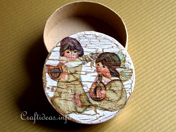 Basic Christmas Craft Ideas - Decoupaged Angels on a Paper Mache Box