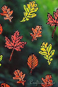 Basic Craft for Fall - Autumn Leaves Window Cling