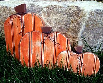 Bead Board Pumpkins