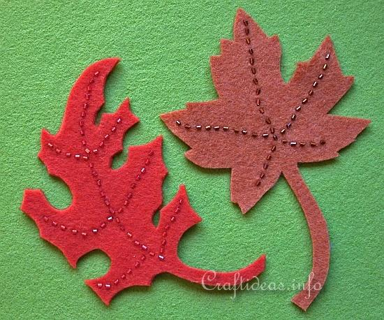 Beaded Felt Autumn Leaves