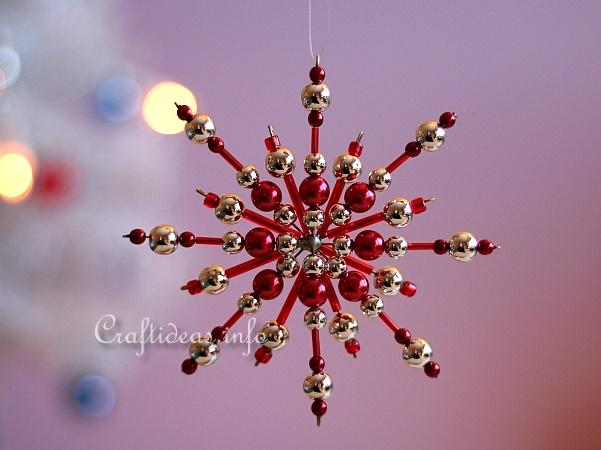 Beaded Snowflake - Red and Silver Beads