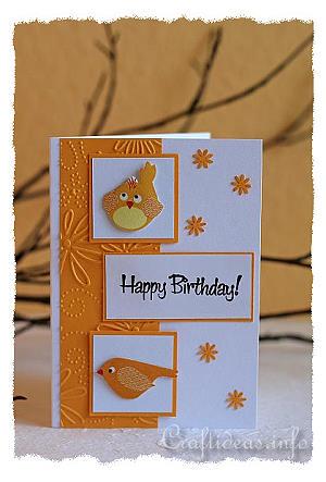 Greeting card craft birthday card with birds motif birds birthday card bookmarktalkfo Choice Image