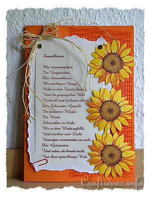 Free Greeting Card Crafts Sunflower Card