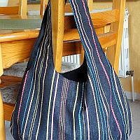 Black Reversible Bag With Color Stripes