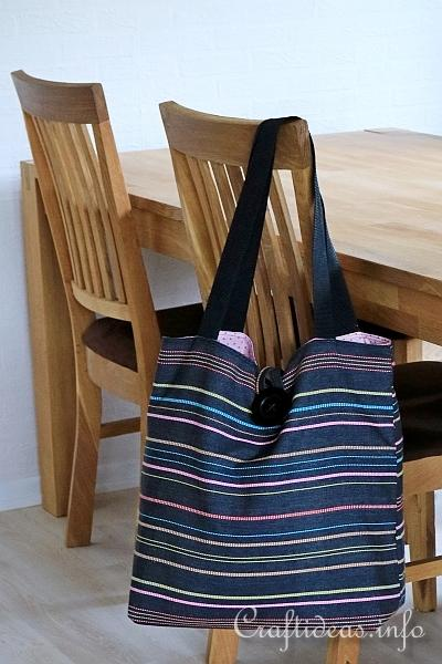 Black and Pink Striped Tote