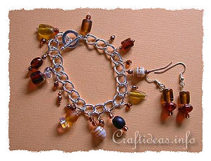 Brown Bracelet and Earrings Set