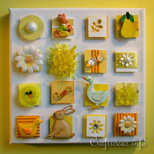 Canvas Picture with Inchies - Yellow Spring and Easter Motifs