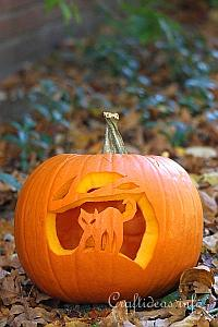 Carved Cat Halloween Pumpkin