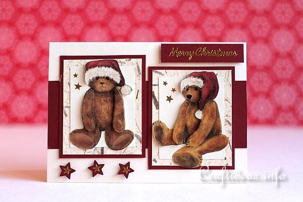 Christmas Card - 3-D Teddy Bears in Santa Caps