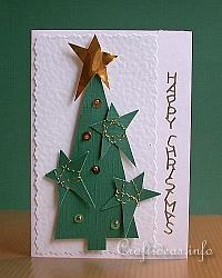 Christmas Card - Christmas Tree with Stars and Sequins