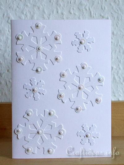 Free Card Craft Projects for Christmas - Snowflakes Christmas Card