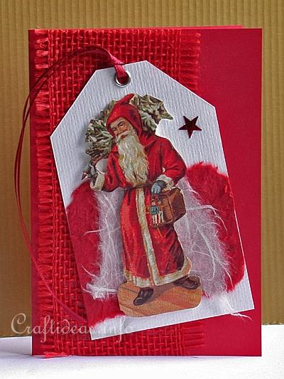 Christmas Card - Nostalgic Santa on Tag Greeting Card for the Holidays