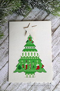 Christmas Card - Patchwork Christmas Tree Greeting Card for the Holidays
