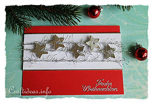 Christmas Card - Red with Silver Stars Greeting Card for the Holidays