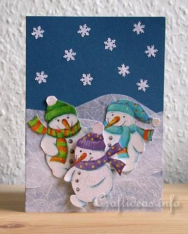 Christmas Card - Snowman Trio Card for Winter