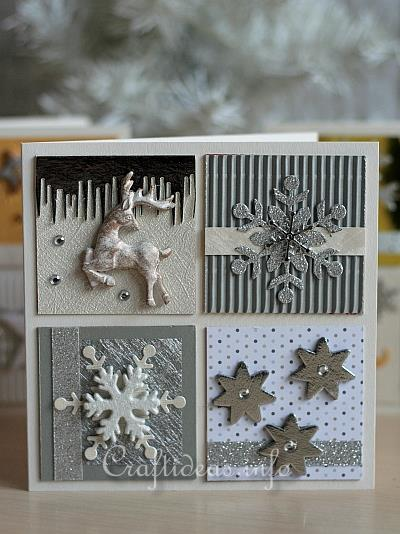 Christmas Card With Silver, Gold and White Embellishments 1