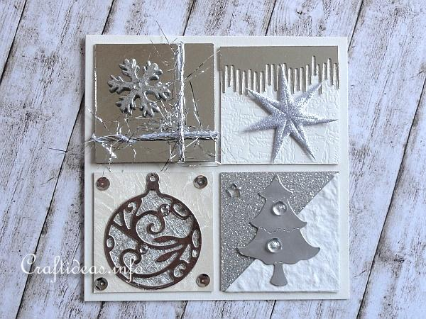 Christmas Card With Silver, Gold and White Embellishments 2