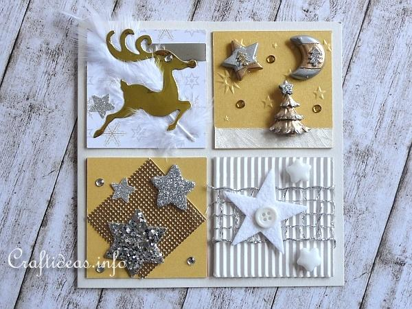 Christmas Card With Silver, Gold and White Embellishments 3