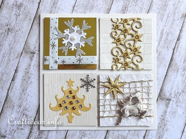 Christmas Card With Silver, Gold and White Embellishments 4