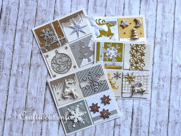 Christmas Cards With Silver, Gold and White Embellishments