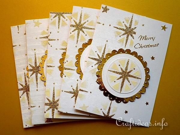 Christmas Cards with Printed Organza Motifs - Gold
