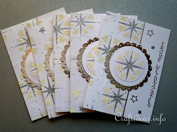 Christmas Cards with Printed Organza Motifs - Silver