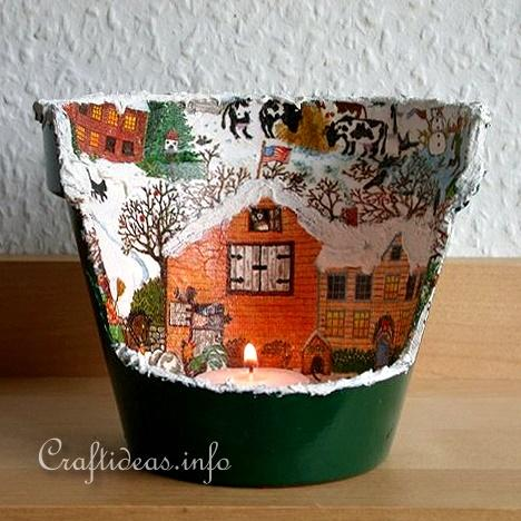 Christmas Craft - Flower Pot Tea Light Holder 2