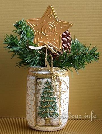 Free Christmas Craft Projects , Create a Decoupage Jar Vase