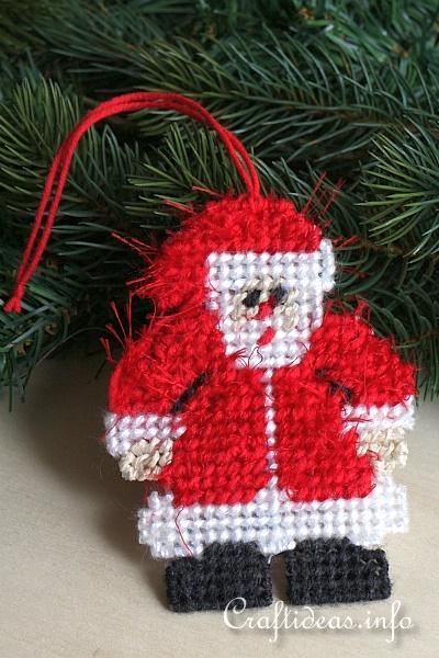 christmas craft plastic canvas santa ornament - Plastic Canvas Christmas Ornaments