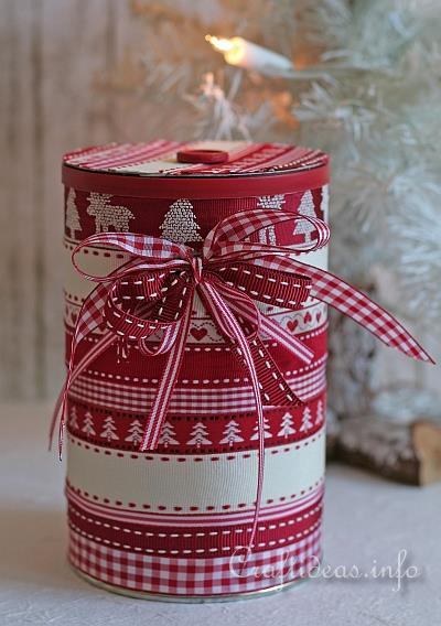Christmas Craft - Recycling - Embellished Can With Lid 1