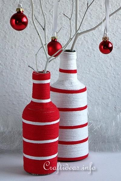 Christmas Craft - Yarn Wrapped Vases