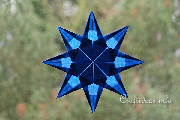 Christmas Craft Idea for Kids - Blue Origami Folded Transparent Star
