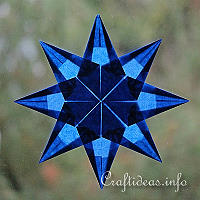 Christmas Craft Idea for Kids - Blue Origami Folded Transparent Star 200